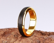 3rd Edition Slimline Carbon Ring in 585er Gelbgold